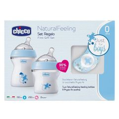 Chicco set of two bottles and a pacifier for newborn babies, blue color