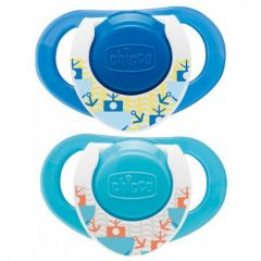 Chicco Physio Compact (12M+) Silicone 2 Pieces - Blue