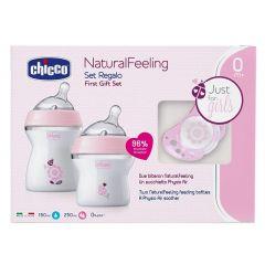 Chicco Natural Feeling Feeding Set - Pink