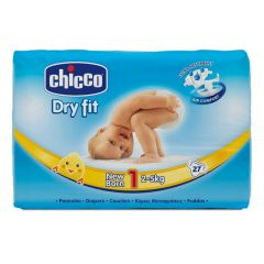 Chicco Diapers Dry Fit Advance - Size 1 Newborn 2-5Kg - 27 Pieces