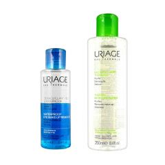 Uriage Thermal Micellar Water Normal, Oily Skin, 250ml + Uriage Waterproof Eye Make-Up Remover 100ml