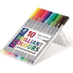 Staedtler Triplus Fineliner Triangular Shape 10 Brilliant Colors Pens Set 0.3mm