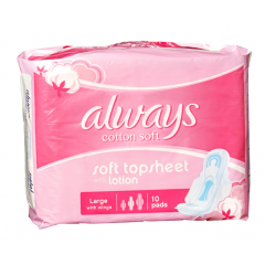 Always Cotton Soft Large With Wings, 10 Pads