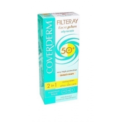 Coverderm Filteray Face Plus Oily Acneic SPF50+ Very High Protection Light Beige Tinted Cream  50ml