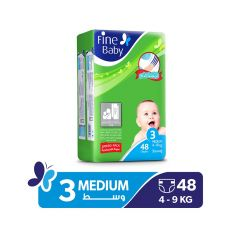 Fine Baby, Size 3, Medium, 4 - 9 kg, 48 Diapers