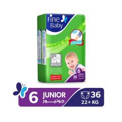 Fine Baby, Size 6, Junior, 22+ kg, 36 Diapers