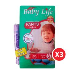Baby Life, Size 6, XXLarge, 18+ kg, 96 Culotte Diapers