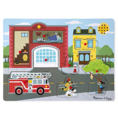 Melissa & Doug Sound Puzzle Around The Fire Station 8pc