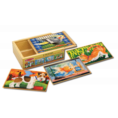 Melissa & Doug Wooden Jigsaw Puzzles In A Storage Box