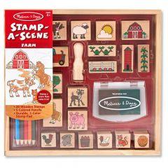 Melissa & Doug Wooden A-Scene Farm Stamp Set