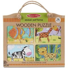 Melissa & Doug Wooden Puzzle Animal Patterns (16pc)