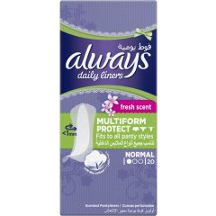 Always Daily Liners Fresh Multiform Protect Fits To All Panty Styles Normal, 20 Pads