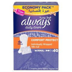 Always Daily Liners Comfort Protect Individually Wrapped Normal, 40 Pads