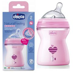 Chicco Natural Feeling Baby Bottle +2 months, 250 ml, Pink
