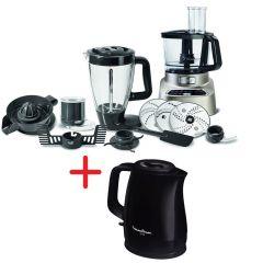 Moulinex FP826 Food processor, 1000W, Processor includes Blender & Chopper, Silver + Moulinex BY150827 Kettle UNO 1.5L Black