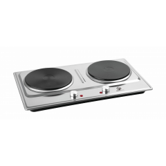 Home Electric HP-3012 Double Hot Plate Electric Cooker, 18.5cm, 2000W, Stainless Steel