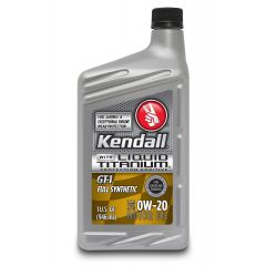 Kendall 1057222 GT-1 Full Synthetic 0W-20 Motor Oil with Liquid Titanium - 1 Quart