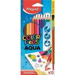Maped Color'Peps Aqua Watercolor Coloring Pencils and Brush Pack of 12