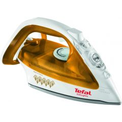 TEFAL Easygliss Durilium Airglide Soleplate Steam Iron, 2400 Watts, Gold/White